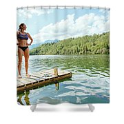 A Woman Is Standing On A Jetty Shower Curtain