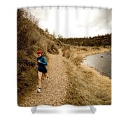 A Woman Jogging On A Dirt Trail Shower Curtain