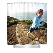 A Woman Running Stairs Near The Ocean Shower Curtain