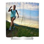 A Woman Trail Running Near Boulder, Co Shower Curtain