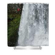 A Woman Trail Running Shower Curtain