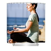 A Women Meditates On The Beach Shower Curtain