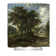 A Woody Landscape Shower Curtain
