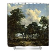 A Woody Landscape With A Cottage Shower Curtain