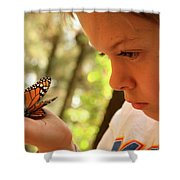 A Young Boy Holds A Stick Shower Curtain