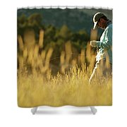 A Young Man Fly-fishing At Sunset Shower Curtain