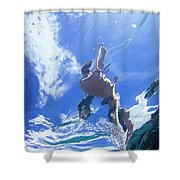 A Young Man Stand-up Paddleboards Shower Curtain