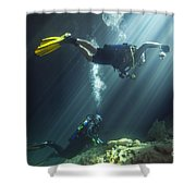 A Young Married Couple Scuba Diving Shower Curtain by Michael Wood
