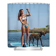 A Young Woman And Her Dog Sup Shower Curtain
