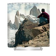 A Young Woman Gazes At Cerro Fitzroy Shower Curtain