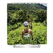 A Young Woman Hikes Through The Jungles Shower Curtain