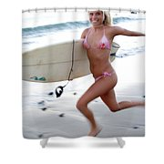 A Young Woman Is Running Shower Curtain