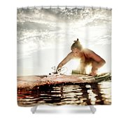 A Young Woman Paddling Hard Shower Curtain