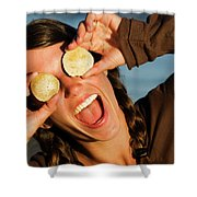 A Young Woman Smiles And Sticks Shower Curtain