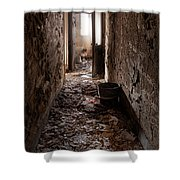 Abandoned Building - Hallway To Ladies Room Shower Curtain