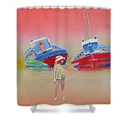 Abandoned Fishing Boats Tavira Shower Curtain