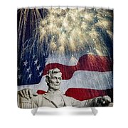 Abraham Lincoln Fireworks Shower Curtain