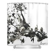 Abstract Ink Art Shower Curtain