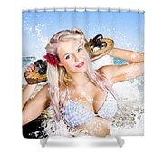 Active Sexy Summer Beach Babe With Skateboard Shower Curtain