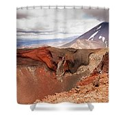 Active Volcanoe Cone Of Mt Ngauruhoe New Zealand Shower Curtain