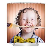 Adorable Little Boy Cooking Chocolate Easter Cake Shower Curtain