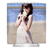 Adorable Seaside Girl Shower Curtain