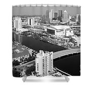 Aerial Of Downtown Tampa And Harbour Island Shower Curtain