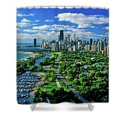 Aerial View Of Chicago, Illinois Shower Curtain