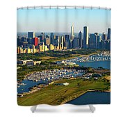 Aerial View Of Museum Campus Shower Curtain