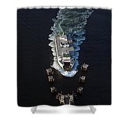 Aerial View Of Passenger Ferry Boat Going To Southworth Puget So Shower Curtain