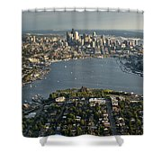 Aerial View Of Seattle Shower Curtain