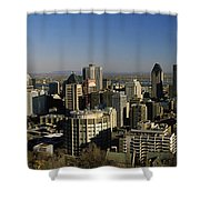 Aerial View Of Skyscrapers In A City Shower Curtain