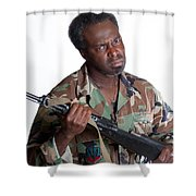 African American Man With Gun Shower Curtain