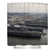 Aircraft Carriers In Port At Naval Shower Curtain