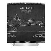 Airplane Patent Drawing From 1918 Shower Curtain