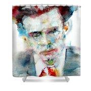 Aldous Huxley - Watercolor Portrait Shower Curtain