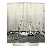 All Aboard Bw Shower Curtain