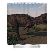 Alluring Majungasaurus In Swamp Shower Curtain