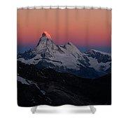 Alpenglow On The Matterhorn And Dent Shower Curtain
