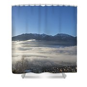 Alpine Village Under Sea Of Fog Shower Curtain