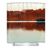 Amber Autumn Lake Shower Curtain