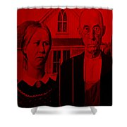 American Gothic In Red Shower Curtain