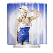 American Pinup Poster Girl In Military Uniform Shower Curtain