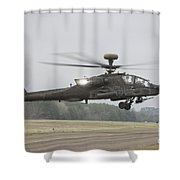 An Ah-64 Apache Helicopter In Midair Shower Curtain