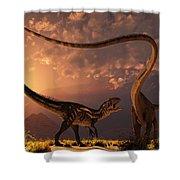 An Allosaurus In A Deadly Battle Shower Curtain