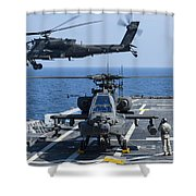 An Army Ah-64d Apache Helicopter Takes Shower Curtain
