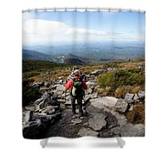 An Athletic Female Hiker Hikes Shower Curtain