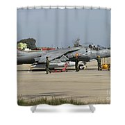 An Av-8b Harrier II Of The Spanish Navy Shower Curtain