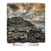 An Evening View Of The Giants Causeway Shower Curtain