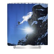 An Extreme Skier Jumps Off A Snowy Shower Curtain